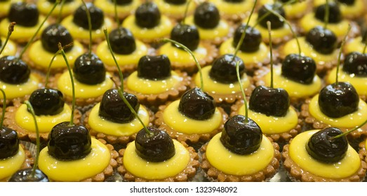 pastries with cherries and cream, texture
