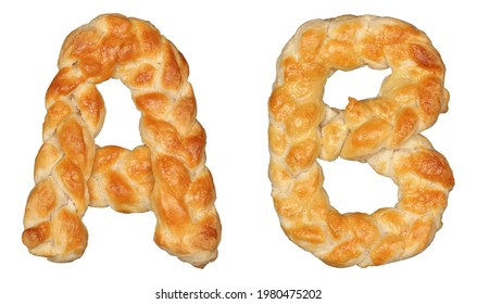 Pastry Braid alphabet. Letters A and B isolated on white background. - Shutterstock ID 1980475202