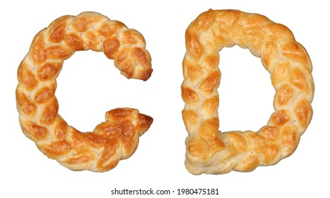 Pastry Braid alphabet. Letters C and D isolated on white background. - Shutterstock ID 1980475181