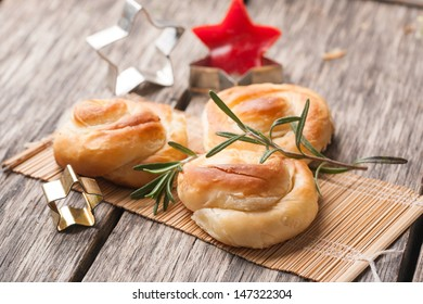 Pastry with cheese and rosemary