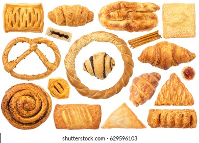 Pastry Isolated on White Background. This set contain pastry with: cheese, apple, sesame, pizza. Also have: pretzel with seeds, sesame bagel, croissant, sticks, bread with jam.