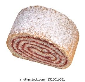 A pastry roll filled with jam slice of bread isolated on white background