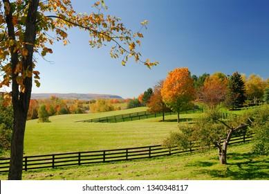 Pasture and horse paddocks in Oak Ridges Morraine with Niagara Escarpment in Ontario