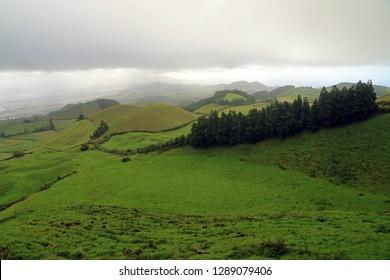 Pasturelands in the Picos region, Sao Miguel Island, Azores, Portugal