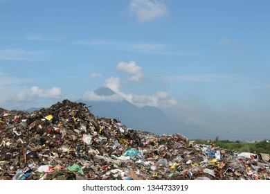 Pasuruan, East Java-Indonesia. Thursday, March 21, 2019. rubbish pile and blue sky