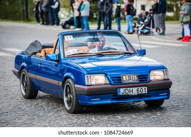 "PASVALYS, LITHUANIA - MAY 05, 2018: Old vintage Opel Monza cabriolet in retro car exposition ""We Drive""."
