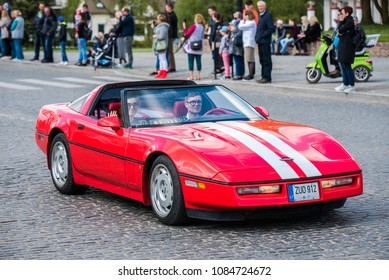 "PASVALYS, LITHUANIA - MAY 05, 2018: Old vintage C4 Chevrolet Corvette in retro car exposition ""We Drive""."