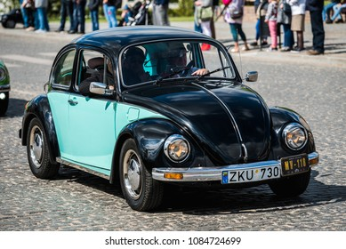 "PASVALYS, LITHUANIA - MAY 05, 2018: Old vintage Volkswagen Beetle car in retro car exposition ""We Drive""."