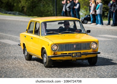 "PASVALYS, LITHUANIA - MAY 05, 2018: Old vintage LADA VAZ-2101 Zhiguli car model in retro car exposition ""We Drive""."