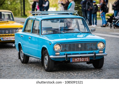 "PASVALYS, LITHUANIA - MAY 05, 2018: Old vintage Russian LADA VAZ-2101 Zhiguli car in retro car exposition ""We Drive""."