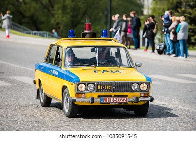 "PASVALYS, LITHUANIA - MAY 05, 2018: Old vintage Russian police car, militsiya,   LADA VAZ-2101 model in retro car exposition ""We Drive""."