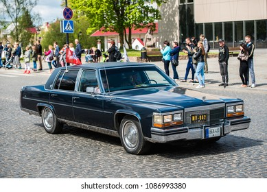"PASVALYS, LITHUANIA - MAY 05, 2018: Old retro Cadillac Brougham car in retro car exposition ""We Drive""."