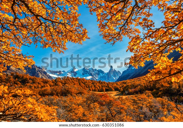 Patagonia Argentina, Los Glaciares National Park, Cerro Torre, beautiful autumn scenery on the trails leading to the ice covered peaks of the mountains.