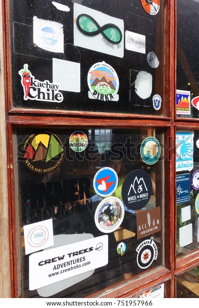 Patagonia Chile 022517 Stickers On Window Stock Photo (Edit
