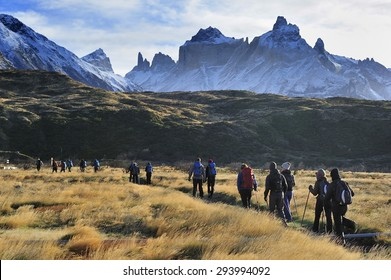 Patagonia, Chile :?? 9.24. 2014 : People trekking along the route to French Valley, Torres del Paine National Park, Patagonia, Chile