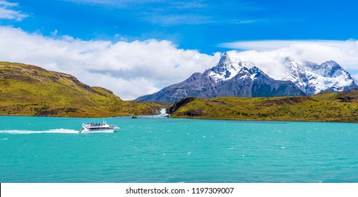 PATAGONIA, CHILE - JANUARY 4, 2018: Lake Pehoe, Torres del Paine National Park. Copy space for text