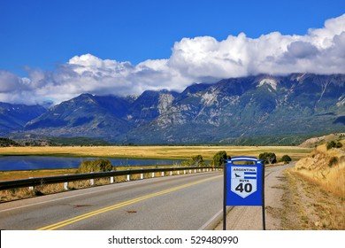 Patagonia. The longest road in Argentina Ruta 40 is laid parallel to the Andes of picturesque lakes and fields