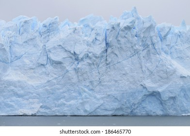 Patagonian landscape with icebergs and water. Horizontal.