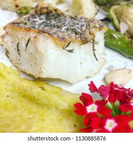Patagonian toothfish with leeks and Flowers