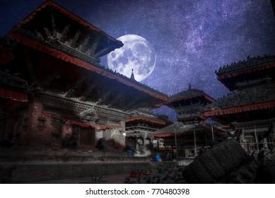 Patan .Ancient city in Kathmandu Valley. Nepal.At night the moon and stars shine.