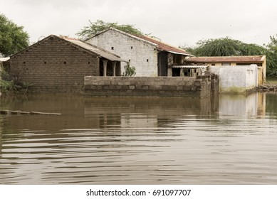 Patan / India 1 August 2017 A Flooded house in village at Patan  Gujarat  India