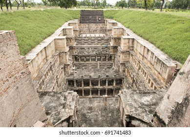 Patan / India 1 August 2017 Rani Ki Vav (The Queens Stepwell) 11th century Queens Stepwel  It was designed as an inverted temple and has seven levels at Patan  Gujarat  India