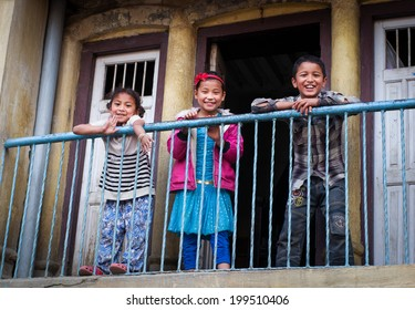 PATAN, NEPAL - APR 04: Unidentified Nepalese children 7-10 years old playing on Apr 4, 2014 in Patan, Nepal.