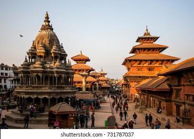 PATAN, NEPAL - CIRCA NOVEMBER 2013: Temples on the Durbar square in Patan at sunset, Nepal