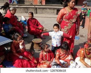 Patan, Nepal, November 26, 2014. Ihi Ceremony at Kumbheshwar Temple in Patan, Nepal on November 26, 2014.
