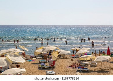 Patara Beach is one of the largest and most beautiful beaches near the ancient Lycian city of Patara in Turkey, on the coast of the Turkish Riviera. August 2018 Kas-Antalya