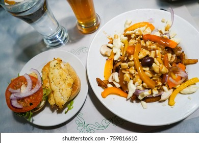 patatine / poutine with beer and burger in Montreal