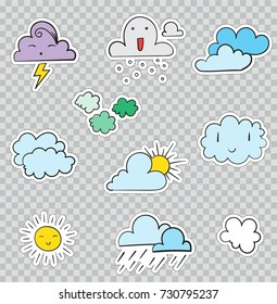 Patch Badges with Weather Conditions and Clouds. Raster illustration isolated on transparent background. Set Pack of stickers, pins, patches in cartoon 80's - 90's comic style.