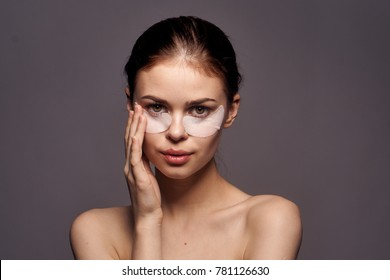 patches under the eyes, skin care, beautiful woman