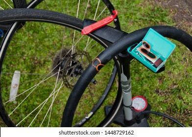 Patching a bike tire. Bike fixing at home by yourself.