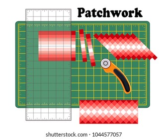 Patchwork, Cutting Mat, Quilters Ruler, Rotary Blade Cutter, Seminole Design, sew bands of fabric together lengthwise, cut into strips, reorganize strips patterns, for DIY quilts, crafts