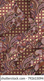 Patchwork design with medal pattern of Middle East and Paisley