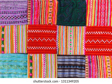 a Patchwork quilt in multicolor asian style