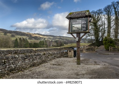 PATELEY BRIDGE, ENGLAND - Circa 2015: over looking the North Yorkshire Dales from the Bridge Inn near Pateley Bridge, England in circa 2015.