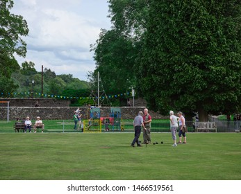 Pateley Bridge, Harrogate, North Yorkshire, England, UK. 21/07/2019. Players on the crown green bowling green hone their skills