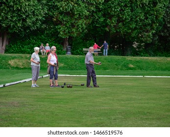 Pateley Bridge, Harrogate, North Yorkshire, England, UK. 21/07/2019. Players on the crown green bowling green hone their skills