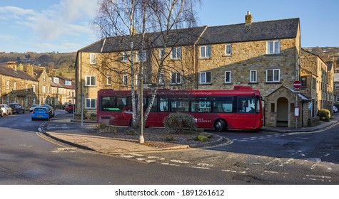 Pateley Bridge, Harrogate, North Yorkshire, England, UK. 7th Jan 2021. An empty bus and views of the normally bustling Nidderdale market town, now deserted, in covid-19 lock down