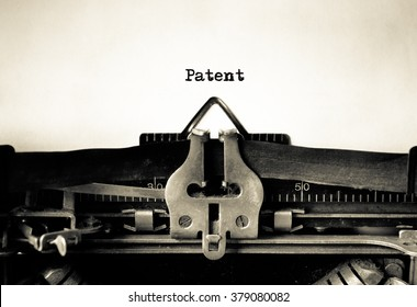 Patent message typed on a vintage typewriter
