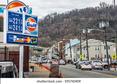 PATERSON, NEW JERSEY- MARCH 6 - A view of Paterson NJ and the gas prices at this Shell station on March 6 2017 in New Jersey.