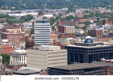 Paterson, NJ - August 25 2019: Cityscape view of downtown Paterson from Garret Mountain Reservation