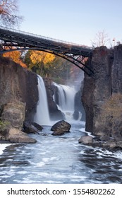 Paterson, NJ / United States - Nov. 9, 2019: Vertical image of The Great Falls of the Passaic River