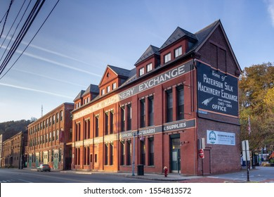 Paterson, NJ / United States - Nov. 9, 2019: Landscape view of Paterson Silk Machinery Exchange