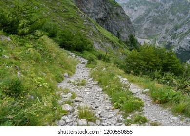 A path of access to Corno Piccolo from the Gran Sasso mountain chain, Teramo province, Abruzzo region, Italy
