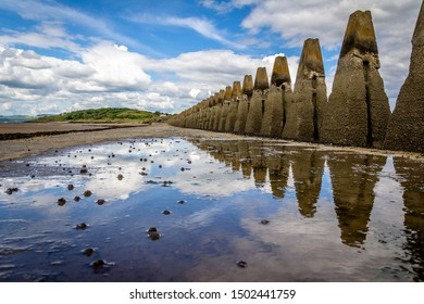 Path to access Cramond Island when the tide is low.