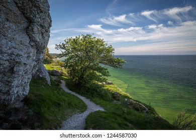 Path along the limestone cliffs above the crystal clear water of the west coast of Gotland, Sweden.
