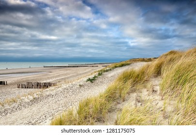 path along North sea sand beach, Vlissingen, Zeeland